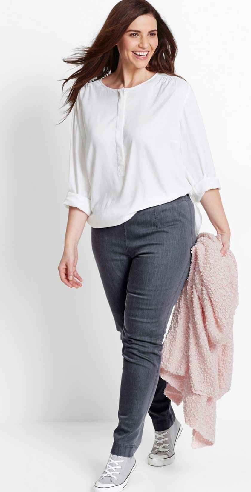 Dame - Jeansleggings, smal passform - grey denim
