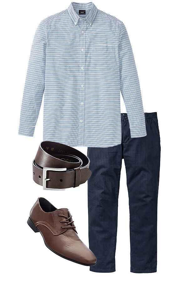 66052331ae9 Herre - Langermet, stripet skjorte, normal passform - blå/hvit stripet