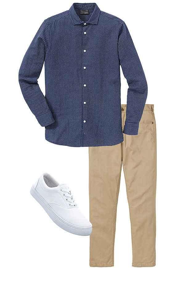 f9dca1d0 Herre - Flanellskjorte, normal passform - blå mønstret