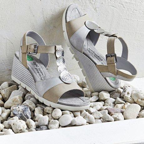 7a8c0e18031f Errichtung Heisenberg - Behagelig sandal i skinn - grå sølv