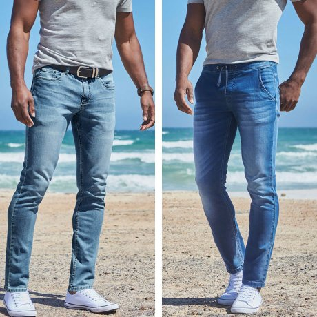 Dame - Regular Fit Multi-Stretch-Jeans, Tapered - blue bleached