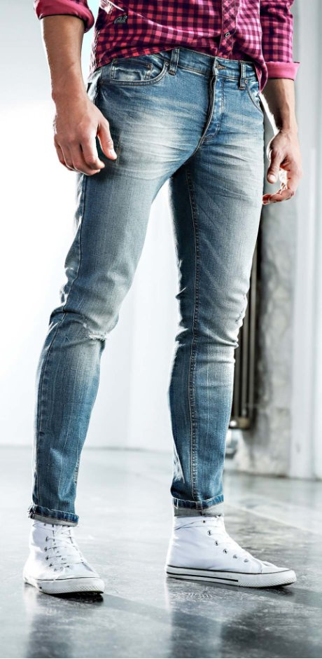 Herre - Jeans med stretch, smal passform - rette ben - blue used