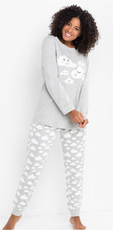 29a2b1d2 Dame - Pyjamas i økologisk bomull - lys grå melert / hvit med trykk