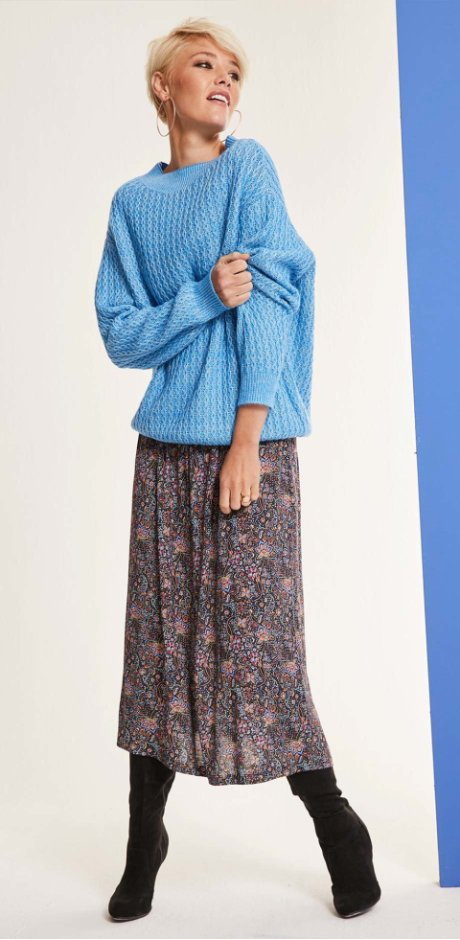 Dame - Oversized strikkegenser: Must Have - lys blå