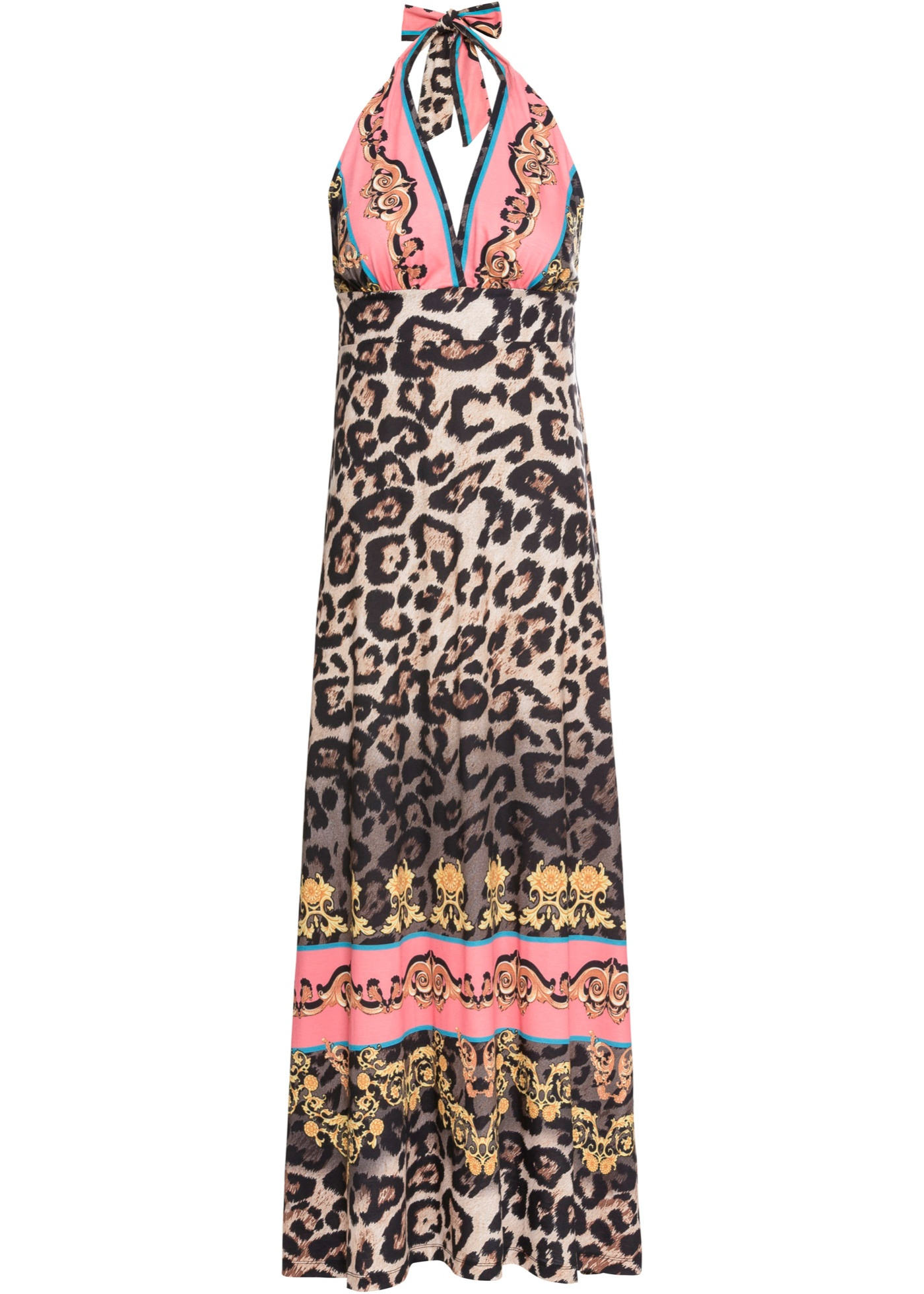 Halterneck kjole med leomix-print