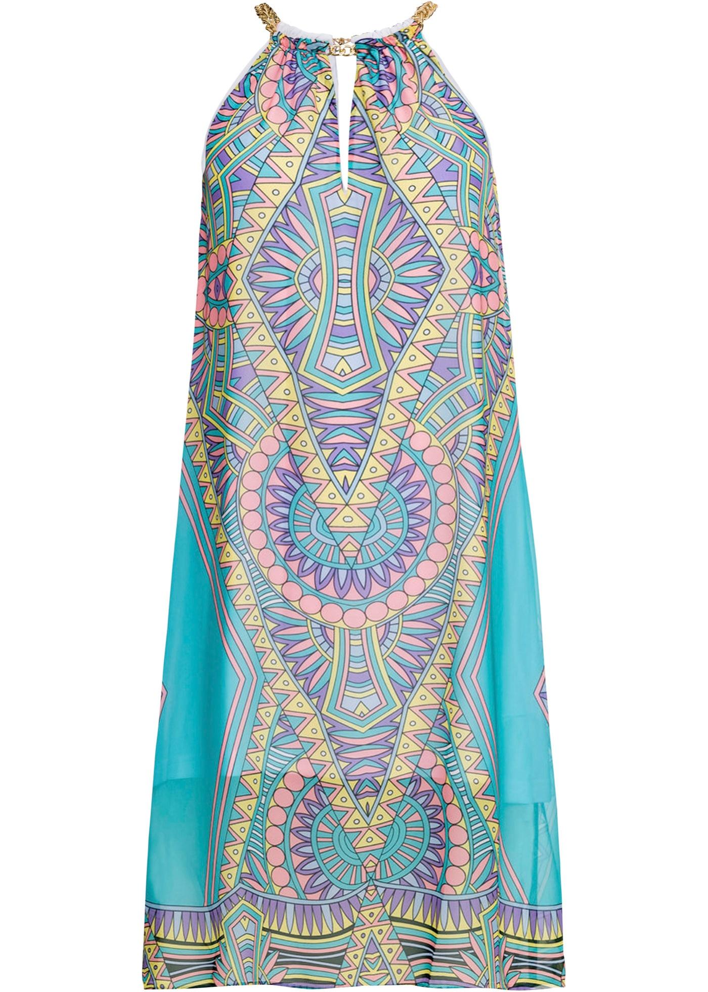 Halterneck-kjole med mønster