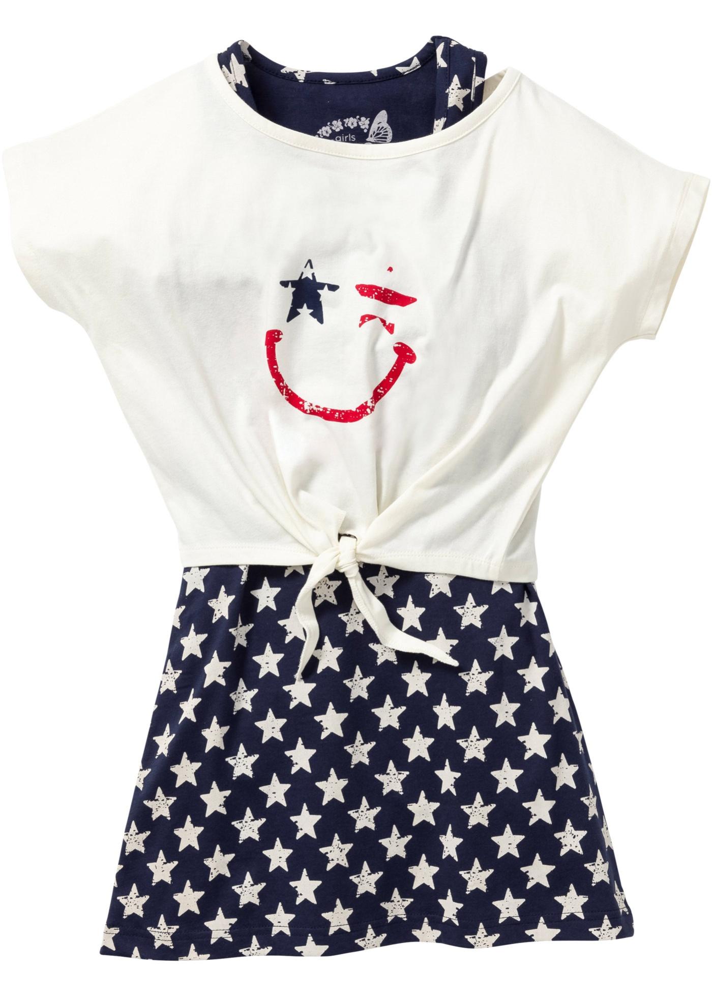 Trikotkjole + T-shirt (2 deler)