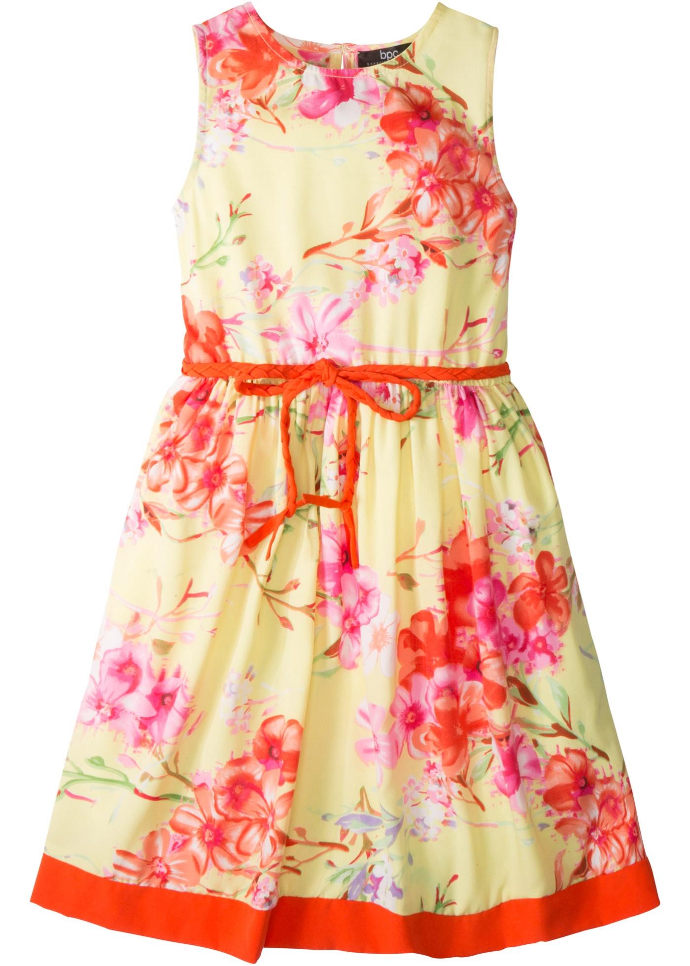 Kjole med blomstertrykk og belte (2 deler, sett)