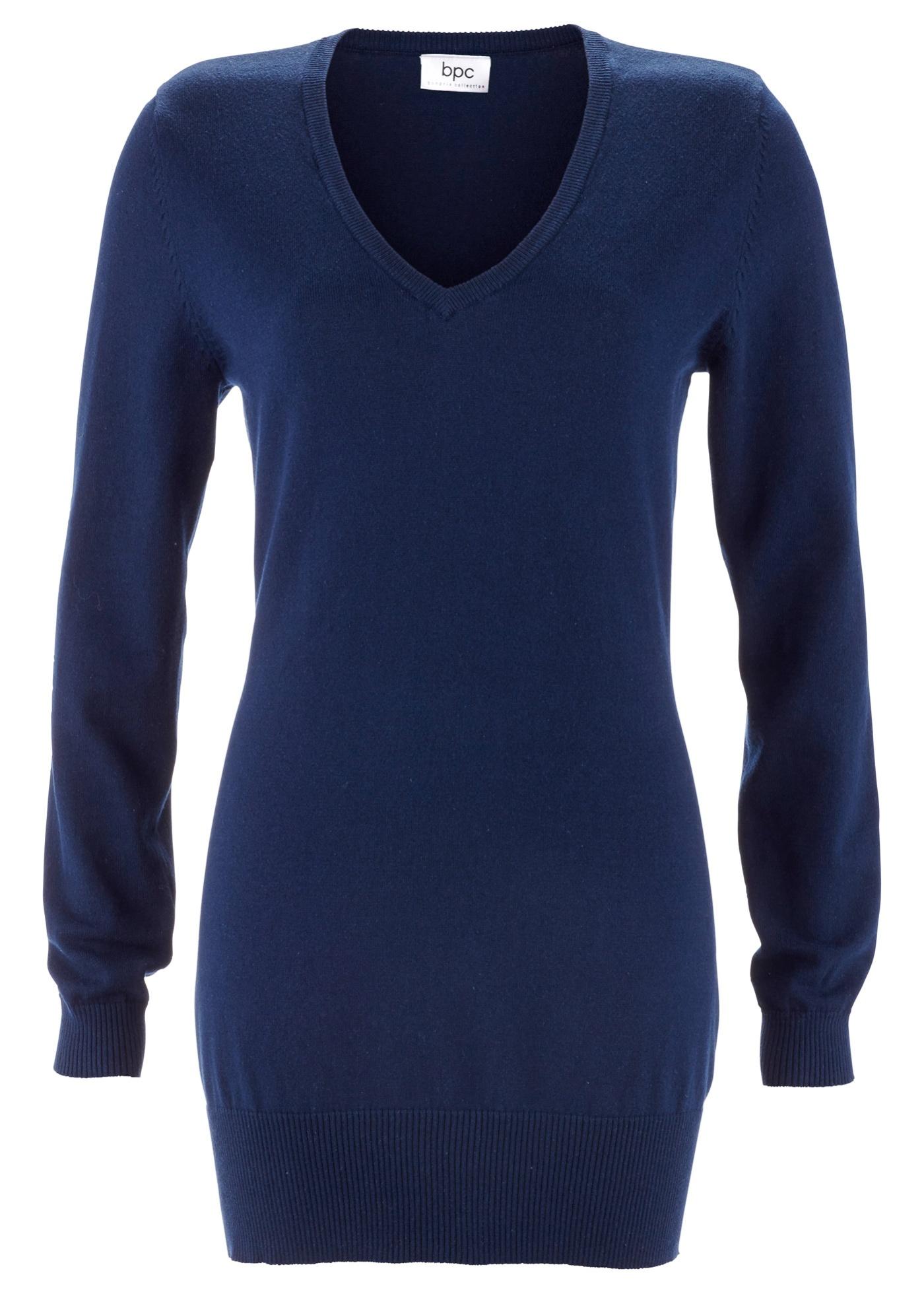 Lang basic-genser med V-hals