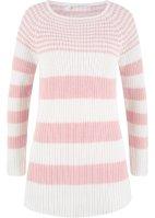 139aa08f Lang, varm jakke av imitert ull Stripet genser i ribbet struktur, med  U-båthals