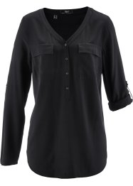 Viskosebluse med V-hals, lang arm, bpc bonprix collection