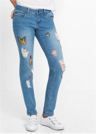 Jeans med patches, smal passform, RAINBOW