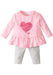 Langermet Babyshirt + leggings (2deler, sett). Økologisk bomull, bpc bonprix collection