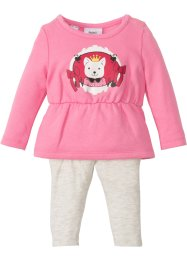Baby sweatkjole + leggings (2 deler, sett), økologisk bomull, bpc bonprix collection