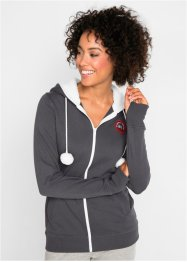 Sweatjakke med hette, fleece, lang arm, bpc bonprix collection