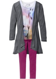 Topp + cardigan + leggings (sett i 3 deler), bpc bonprix collection