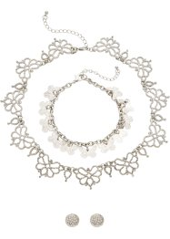 Smykkesett med strass, 3 deler, bpc bonprix collection