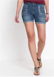 Stretchy jeans-shorts med trykk, John Baner JEANSWEAR