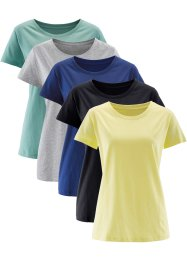 Lang topp med rund hals, kort arm (5-pack), bpc bonprix collection