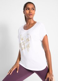 Topp med metallic-trykk, kort arm, bpc bonprix collection