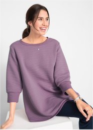 Sweatshirt med tverrgående ribbbestruktur, 3/4-lang arm, bpc bonprix collection