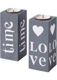 "Stearinlysholder ""Love"" (2-pack), bpc living"