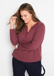 Henley T-skjorte i bomull, lang arm, bpc bonprix collection