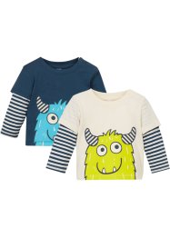 Lag-på-lag-topp for baby, økologisk bomull, 2-pack, bpc bonprix collection