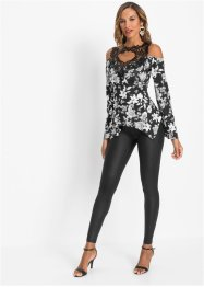 Cold-shoulder-topp med heklebesetning, BODYFLIRT boutique