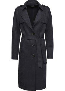 Kåpe i skinnimitasjon med jakkeslag, innsvinget sort bpc