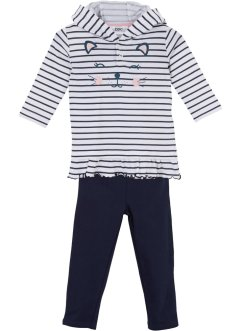 Hettegenser for baby + leggings (2 deler), økologisk bomull, bpc bonprix collection
