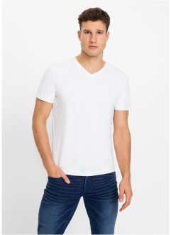 T-shirt med V-hals, Slim Fit (2-pack), RAINBOW