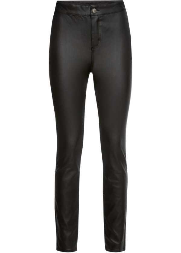 Bukse i skinnimitasjon med sidestriper svart Dame bonprix.no