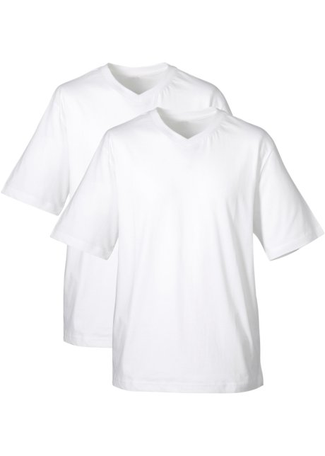 8b5053bd T pakning bonprix hals herre hvithvit bpc med 2 V skjorte for r7qfTZra