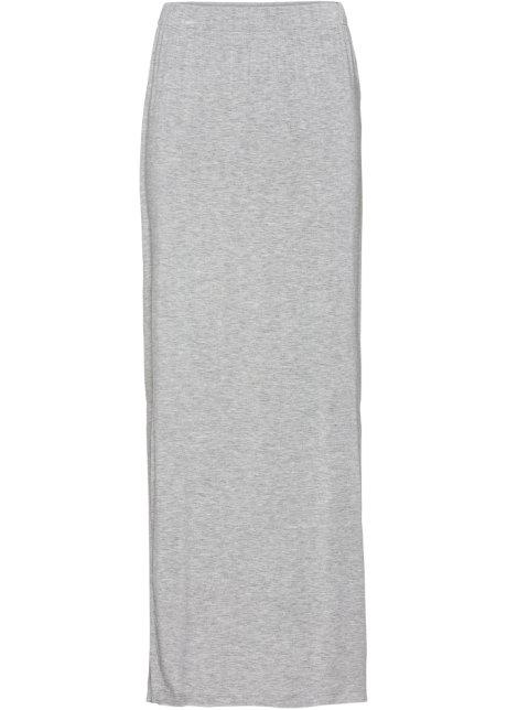 1927d056 Trikot-skjørt med splitt lys grå melert - Dame - RAINBOW - bonprix.no