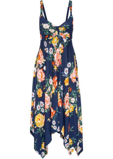 f9f4fc2797e2 Jerseykjole med asymmetrisk kant blomstrete mørkeblå - Dame ...