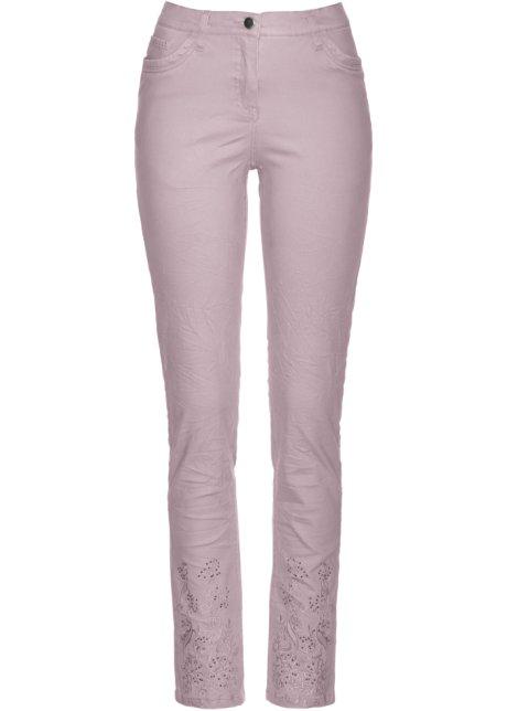 1bd93a93 Stretchbukse med glittersteiner og broderi matt rosa - Dame - bonprix.no