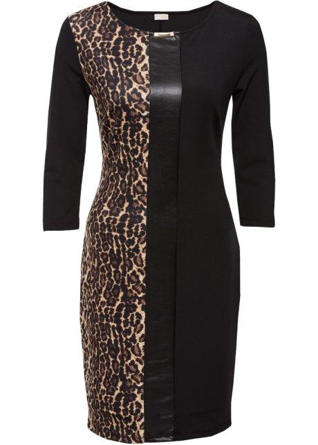 Leopardmønster Sortbeigebrun Leopard no Med Kjole Bonprix 5qfAwnz4