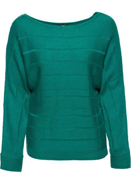 Avslappet genser med vide ermer mørk smaragd