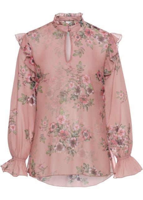 260aa764 Bluse med volanger vintagerosa med blomstertrykk - Dame - bonprix.no