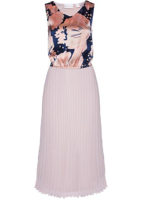 0676cdd1 Plissé-kjole, lang matt rosa/mørk blå med trykk - Dame - bpc ...