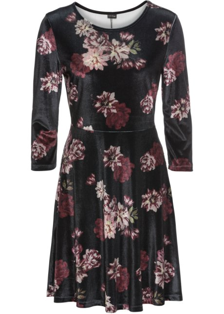 fc3a8fe3 Fløyelskjole med blomstermønster sort/mørk rød/gammelrosa blomstret ...