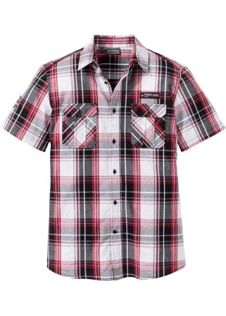 Avslappet skjorte med brystlomme og korte ermer sorthvit