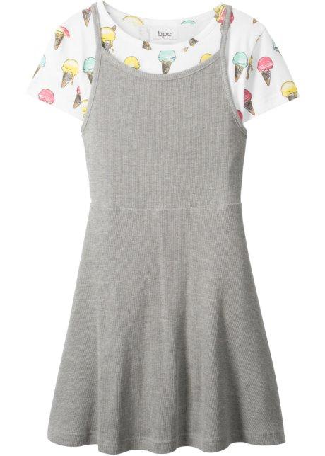 6e5cad24 T-shirt + kjole (sett i 2 deler) hvit/lysgrå melert - Barn - bonprix.no