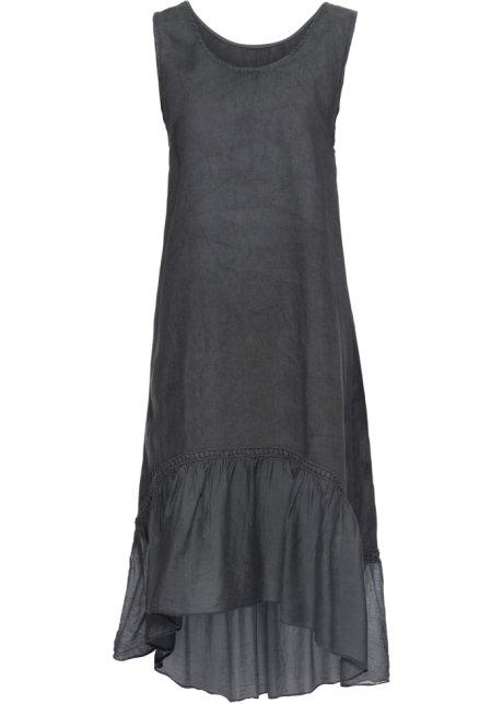 49190d59 Lin-kjole med volang mørk grå - BODYFLIRT - bonprix.no