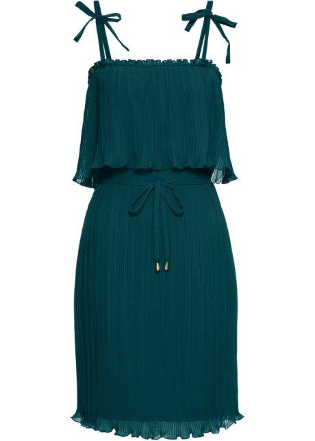 3ac3023f Plissé-kjole med stropper mørk grønn - Dame - BODYFLIRT boutique ...