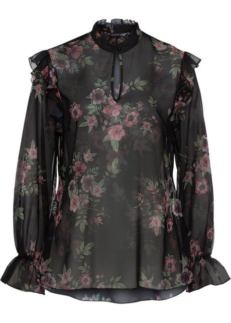 f4d4e00f Bluse med volanger sort med blomstertrykk - Dame - bonprix.no