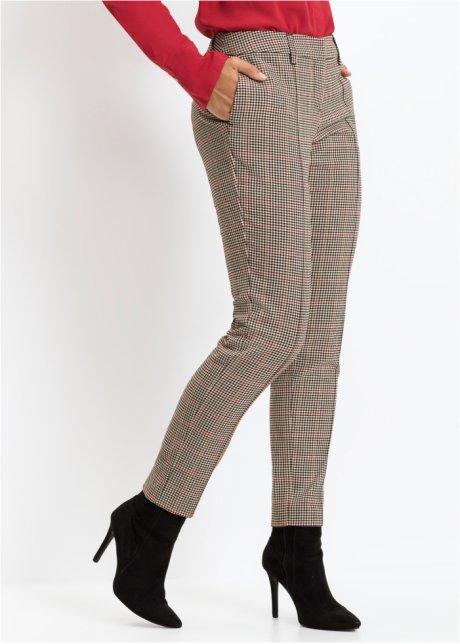 Feminin bukse med rutemønster beigerødsort rutet