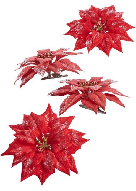 Veldig Julestjerne-blomst med klips (sett i 4 deler) rød - bpc living CW-75