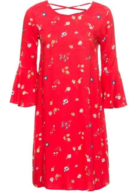 5dbcc4eae5f8 Kjole med volangermer rød blomstret - BODYFLIRT - bonprix.no